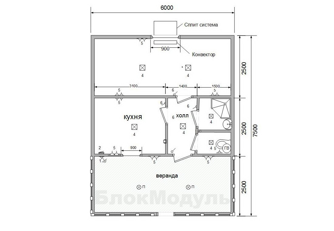 thumb_Дачний будинок 6х7.5м з верандою - Фото № 9