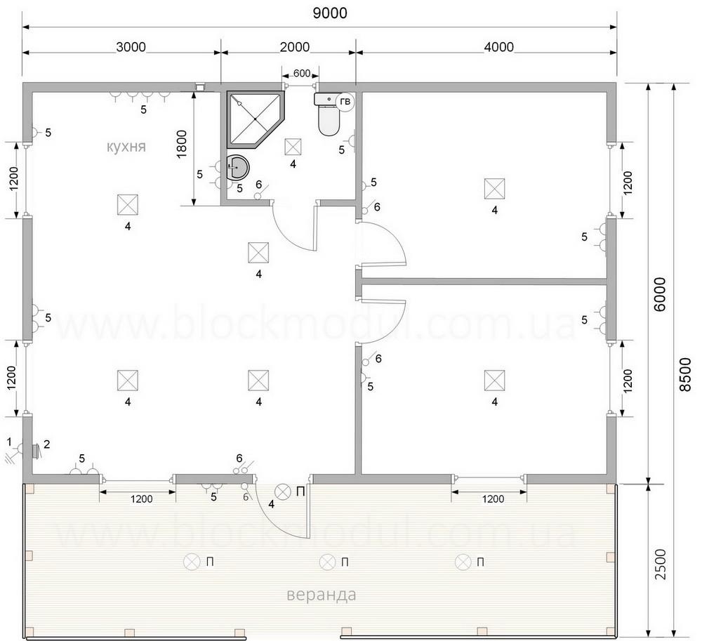 thumb_Каркасный дом премиум класса 9х6м с верандой в с. Дубечня - Фото № 16