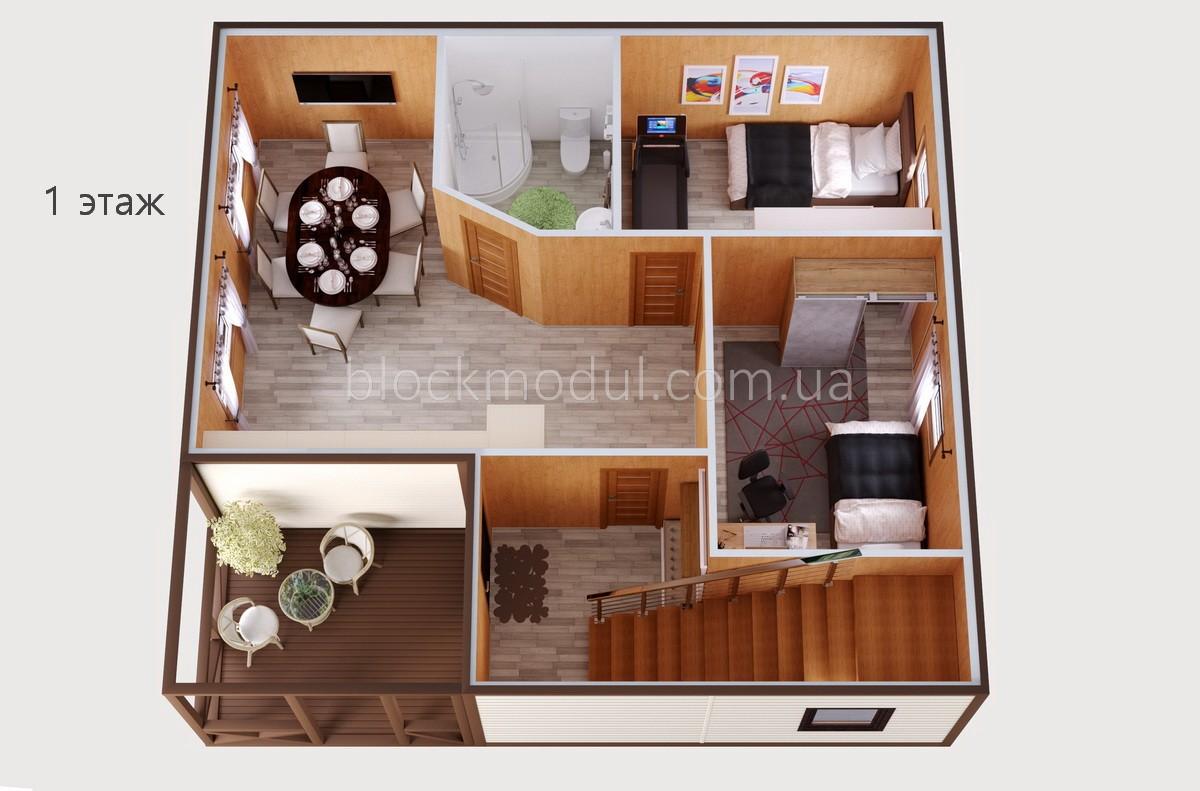 Модульный дом МДШ (2-эт.)