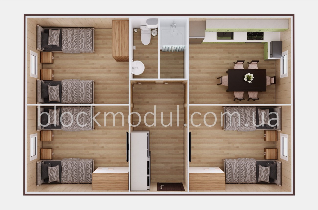 Модульное общежитие на 6 чел. ОМ1